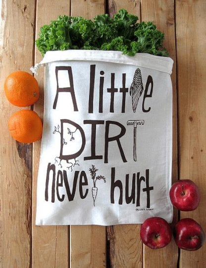 a little dirt reusable produce bag