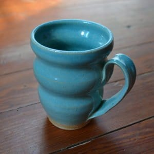blue curvy handmade coffee mug