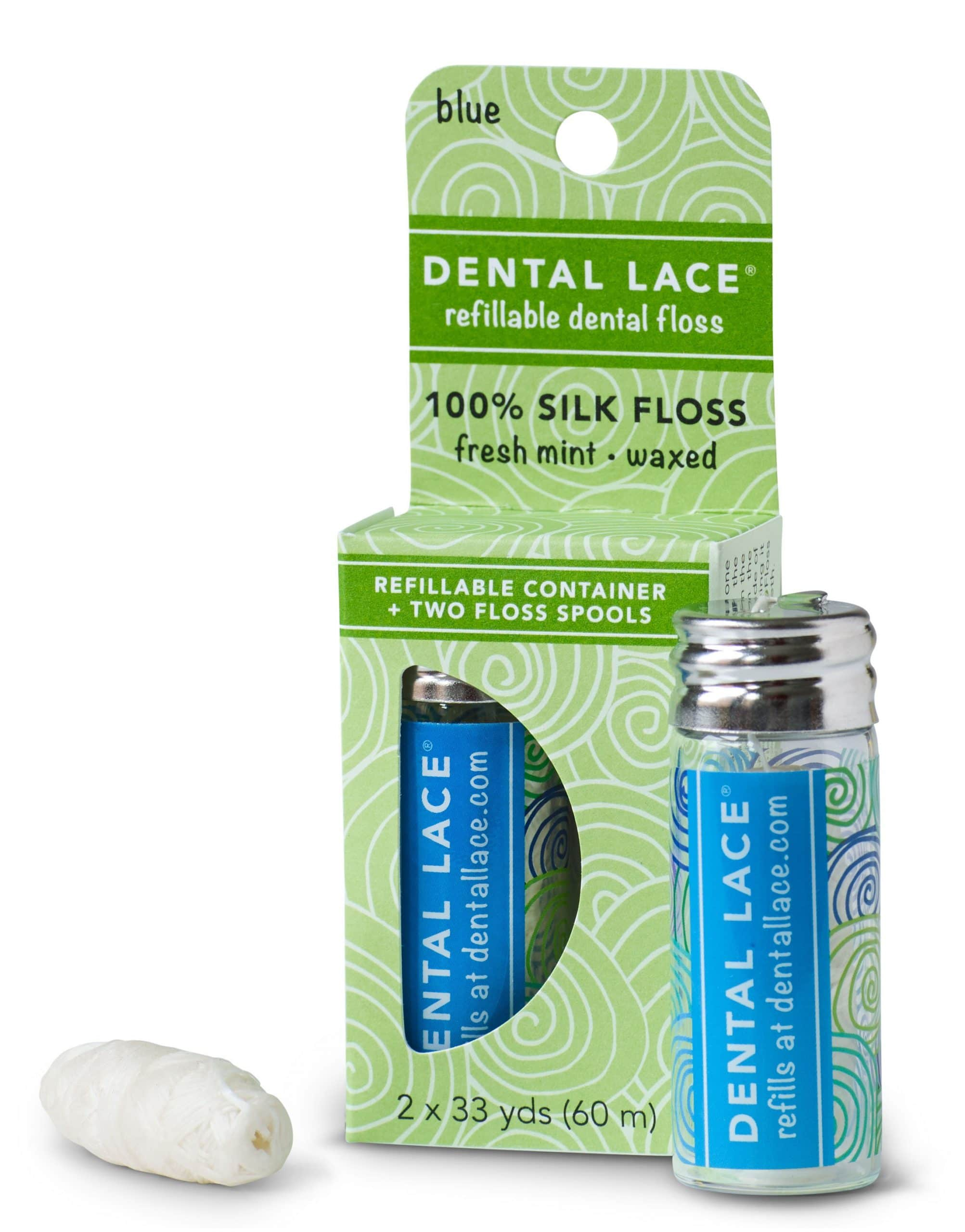 Biodegradable Dental Floss In Refillable Glass Dispenser