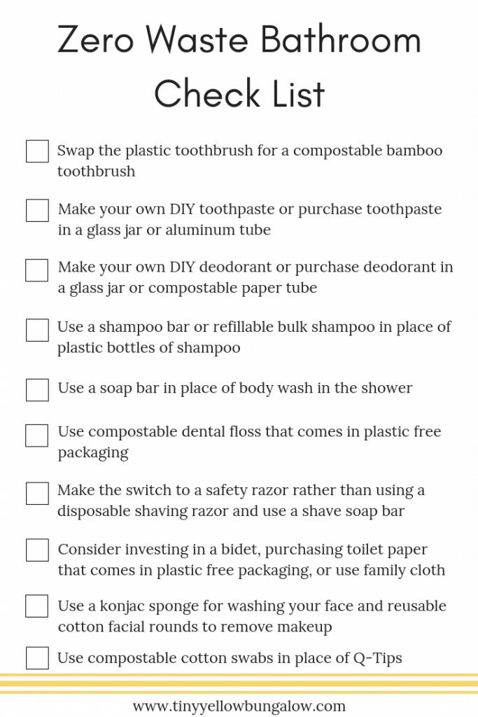 Zero Waste Bathroom Check List