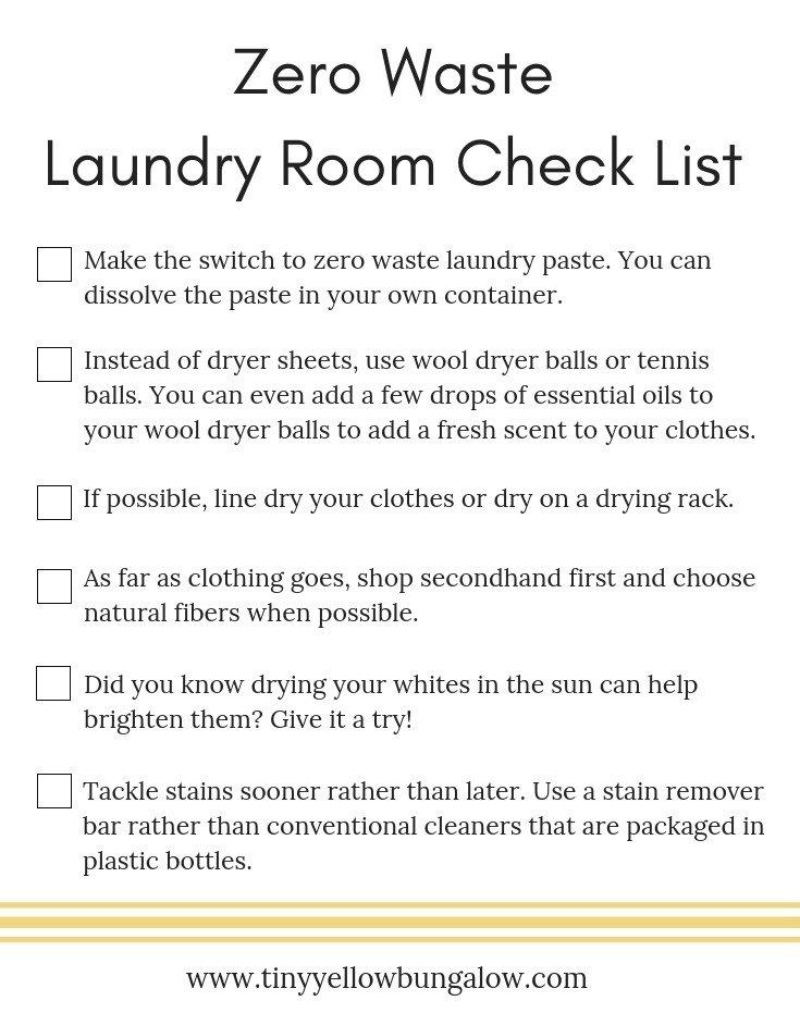 Zero Waste Laundry Room Check List