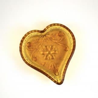 Heart Shaped Amber Glass Dish